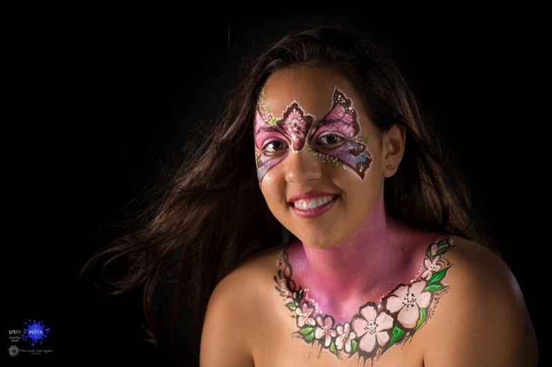face painting mariposas y flores