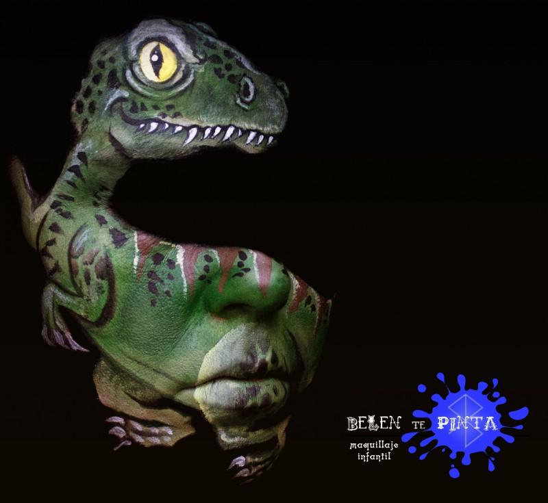 Maquillaje dinosaurio - premiado con mención especial en el concurso de Illusion Magazine