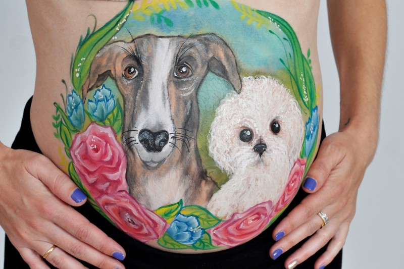 belly painting mascotas
