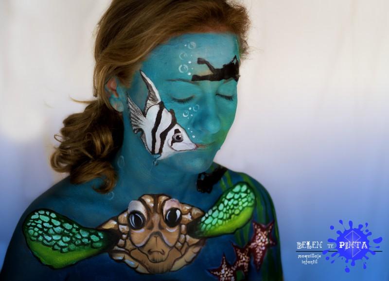 Body paint fondo del mar