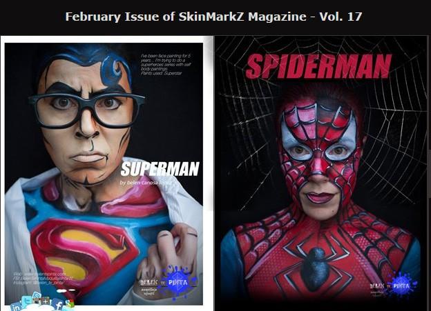 Body paints de súper héoes publicados en SkinMarkz num 17
